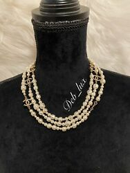 Bnib Natural Pearl Necklace W/ 5 Gold Cc Logo Charms