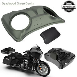 Deadwood Green Denim 8and039and039 Speaker Lids For Advanblack/harley Chopped Tour Pack
