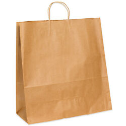 13 X 6 X 15.75 Kraft Brown Paper Mailers, Shopping Bags W/ Handles, 2500 Pack