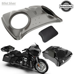 Billet Silver 8and039and039 Speaker Lids For Advanblack/harley Chopped Tour Pak Pack
