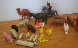 Vintage Mixed Lot Of 25 Plastic Toy Farm Animals Pigs Chickens Duck Cow Marx