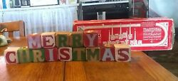 Vintage Colonial Candle Of Cape Cod Merry Christmas Wooden Block Candle Holders
