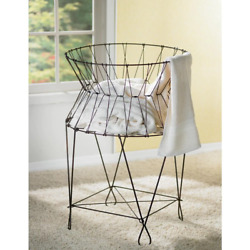 Vintage Wire Collapsible Rustic Farmhouse Laundry Basket Hamper Hand Crafted New