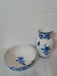 And Co Delft 1996 Blue And White Floral Vase And Bowl Portuguese