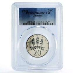 Jamaica 20 Cents Trees Nature Pr69 Pcgs Cuni Coin 1990