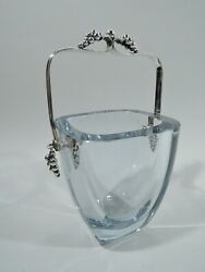 Midcentury Modern Ice Bucket - Danish Sterling Silver Glass - Dragsted