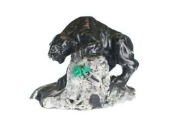 Hand Carved Rare Black Panther Ob Top Of Rough Colombian Emerald Collectors Item