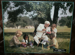 Vtg Colonel Sanders Kentucky Fried Chicken Large Picture In Store Kids Easter