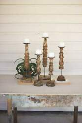 5 Wooden Finial Candle Stands