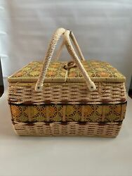 Azar Wicker And Tapestry Double Handle Large Vintage Sewing Basket