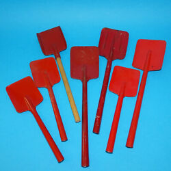 Vintage 1950s Red Tin Lithograph Sand Pail Shovel Lot Of 7 Two Sizes
