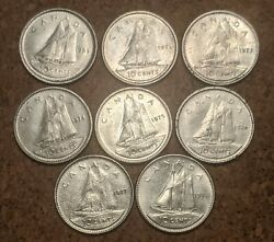 Canada 10 Cents 1969,72,73,74,75,76,77,78 Coins