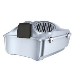 Brilliant Silver Dual 8and039and039 Speaker Lids Fits Advanblack/harley King Tour Pak Pack
