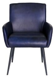 Pair Of Urban Deco Stanton Genuine Leather Carver Dining Chair - Ink Blue