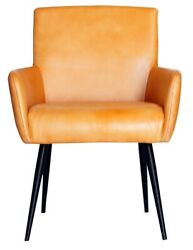 Pair Of Urban Deco Stanton Genuine Leather Carver Dining Chair - Ochre