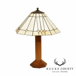 Stickley Mission Collection Lamp With Art Galls Shade