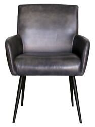Pair Of Urban Deco Stanton Genuine Leather Carver Dining Chair - Charcoal