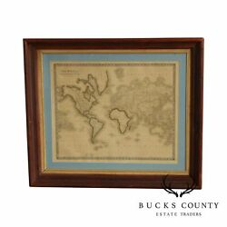 Ant. Map Engraving, 'the World On Mercator's Pro.' By Sidney Hall, Custom Framed