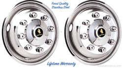 19.5 X 6.75 8 Lug 4 Hole Two Front Wheel Simulator Rim Liner Hubcap Covers ©