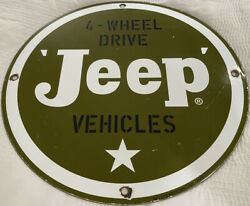 Vintage U.s. Army Jeep Porcelain Sign Willyand039s War Gas Oil Pump Plate Rare Wwii