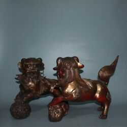 48 Cm Chinese Antique Brass Statue Old Red Copper Lion Animal Statue