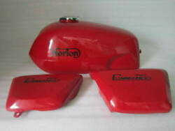 Fit For Norton Fastback Commando Red Painted Gas Tank With Panel Reproduction