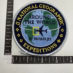 Vtg National Geographic Around World Expeditions By Private Jet Plane Patch 17n1