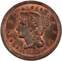 1853 Large Cent N-25 Ngc Ms65rb Superb, Silky-smooth Devices And Fields