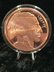 5 Oz. Buffalo Indian  Copper Round Coin Capsule Stand Display Complete