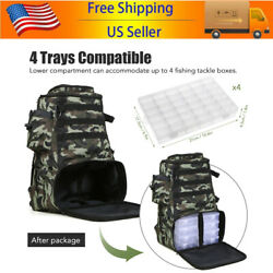 Outdoor Sports Backpack Fishing Tackle Backpack Black With 4 Fishing Tackle Box