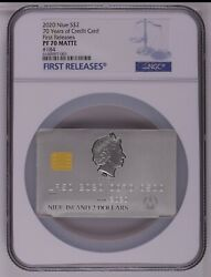 Ngc Pf70 2020 Credit Card 70th Anniversary Silver Coin 1.5 Oz First Release