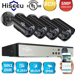 Hiseeu 5mp Cctv Security Ir Camera System Outdoor Home 8ch H.265+ Dvr Kit Y7t7