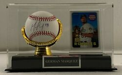 German Marquez Signed Baseball W/ Case Nameplate And Player Card Lsm Coa