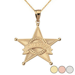 10k Solid Gold Star Sheriff Badge Public Safety Textured Pendant Necklace