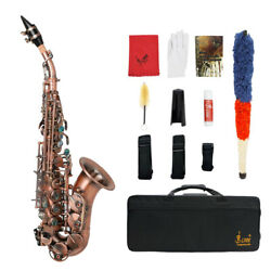 Lade Curved Soprano Saxophone Bb Small Elbow W/ Suitcase Abalone Shell Red