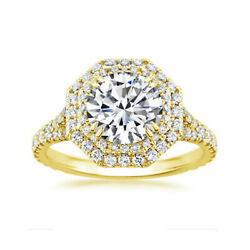 1.15 Ct Coupe Ronde Real Diamond Engagement Ring 14k Solide Jaune Or Taille 6 7