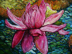 Lily Victoria Amazonica Water Lily Painting Disney Artist Gullerud Oils Canvas