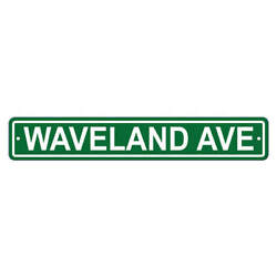 Chicago Cubs 4x24 Waveland Ave Plastic Street Sign