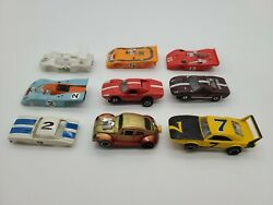 Vintage Slot Car Lot Of 9 - 4 With Chassis Rest Bodies Vw Daytona Gt Lemans Tyco