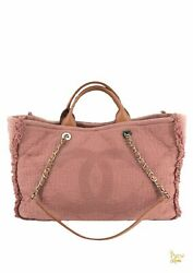 Pink Canvas Deauville Double Face Tote Bag