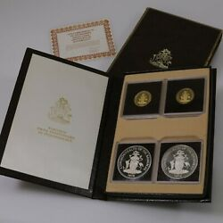 1978 Gold And Silver Bahamas 5th Anniversary 4 Coin Proof Set W/ Case And A Coa