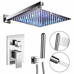 2-handle 2-spray Of Rain Led 10 In. Shower Head System Chrome Valve Included