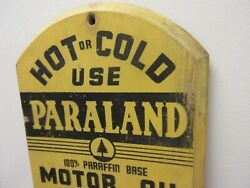 Vintage Advertising Rare Wooden Paraland Motor Oil Thermometer Garage M-570
