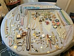 8 Lb Jewelry Lot Vintage Costume Coro, Judy Lee, Trifari Necklace Pins Brooches