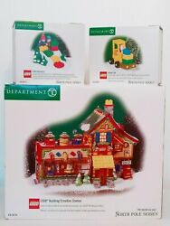 Dept 56 North Pole Series Lot Lego Building Creation Station + Builders + Lift