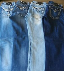 Miss Me Jeans Lot Four Pairs Back To School Womens 31 Designer Denim Bootcut