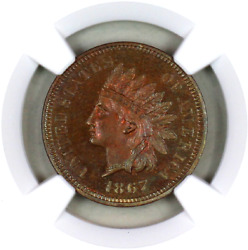 1867 Pf64 Rb Ngc Indian Head Penny Premium Quality Proof Example