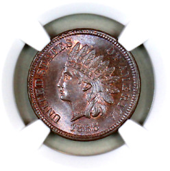 1865 Ms66 Bn Ngc Indian Head Penny Premium Quality Superb Eye-appeal