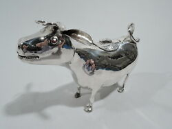 Antique Cow Creamer - Sweet And Bountiful Bovine - German 800 Silver
