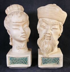 Vintage Universal Statuary Corp Chicago 1960's Asian Man And Woman